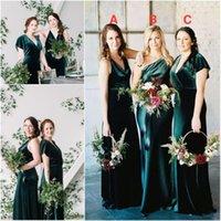Bridesmaid Dress Green Velvet Dresses Mermaid Long Wedding Party Vestido De Fiesta Boda DQG1178