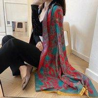 Scarves 2021 Winter Cashmere Scarf Lady Warm Pashmina Blanket Women Shawl Female Thick Foulard Fashion Bandana Ponchos Hijab