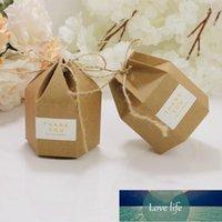 Nueva creativa kraft papel caramelo cajas de regalo linterna hexagonal forma boda favores regalo embalaje cajas dragee chocolate bags1