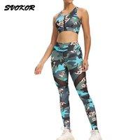 Yoga Outfit Svokor Женская костюм тренировки спортивная одежда печатный тренажерный зал Устанавливает фитнес леггинсы спортивный набор Устрекизащитный бюстгальтер одежды