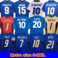 Italie Retro Jersey 2000 2006 Italie Baggio Buffon1990 1999 Italie Rétro Accueil 1994 Jersey di calcio Maldini Baggio Donadoni Totti del Piero