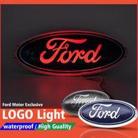 9 Inç Oval Amblem LED Işık Rozeti Logo Ön Izgara / Ford F150 F250 F350 Edge Explorer Ranger için Sticker ile Bagaj Kapağı
