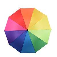 Neue Frauen Mode Bunte Regenbogen Regenschirm Dreifache 10 K Verstärkte winddichte starken Regen