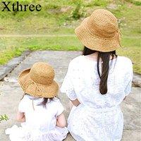 Xthree Zwei größe handgemachte webart stroh frauen sommer hut kinder panamas vintage fascinator für mädchen breite rand hüte