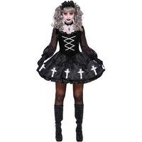 Lolita Kleid Halloween Kostüme für Frauen Mädchen Furchtsam Goth Gothic Cosplay Kostüm Karneval Party Kreuz Kirche Vintage Retro Nette H0910