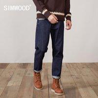 Jeans d'hommes Simwood 2021 Automne hiver confortable cheville conique -Length Colorftfast Pantalons en denim Plus de taille de la taille de la taille
