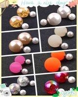 Fashion Women Double-sided Pearl Stud jewelry Earrings Beautiful Sweet Romantic Lady