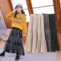 Children Skirt Spring Autumn Velvet Skirt for Girls Clothing Long A-line Big Swing Skirt Kids Princess Solid Pleated