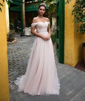 2021 Country A Line Tulle Wedding Dresses Bridal Gowns Sweetheart Off Shoulder Robe De Marrige with Ribbon Buttons Back Formal Vestidos