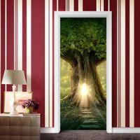 الملصقات الزخرفية حماية 3d شجرة البيت البيئية الإبداعية الباب لصق تجديد النفس adhive نوم الجدار pvc ملصقا