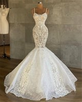 2021 Full Lace Mermaid Wedding Gowns For Arabic Spaghetti Straps Sweep Train Plus Size Bridal Party Dresses Robe De Marriage