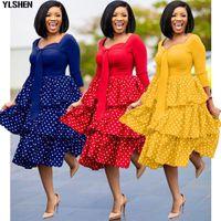 Vestidos de Impressão Africana para Mulheres Dashiki Polk Pot Patchwork Roupas Plus Size Vestidos África Bolo Vestido Christmas Robe Moda moda