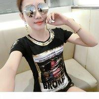 Fashion Women Tshirt 2019 Broken Hole Hot Stamping Black T-shirt Thin Short-sleeved Korean Style Women Top Slim O-neck Y19072701