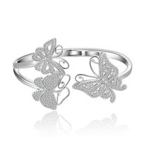Bangle Charming Crystal Bracelet Micro Paved Luxury Zircon 3d Butterfly For Women Party Jewelry Zk30