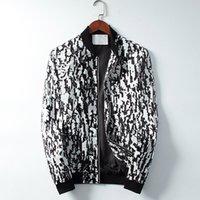 2021 망 디자이너 재킷 스트라이프 슬림 프린트 포켓 바람 캐주얼 야구 재킷 지퍼 후드 코트