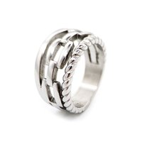 Fashion Simple Silver Gold Band Ring For Women Stainless Steel 3 Hoop Knotted Rings Woman Stylish Personalized Hiphop Father Day Jewelry Wholesale With Box