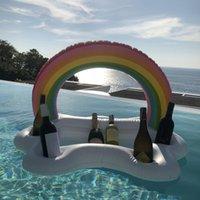 여름 파티 양동이 무지개 구름 컵 홀더 풍선 풀 플로트 맥주 마시는 쿨러 테이블 바 트레이 비치 수영 반지