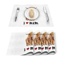 Table Runner 4 6pcs Mothers Day Animal Yak I Love Mom Kitchen Placemat Set Dining Mats Cotton Linen Pad Bowl Cup Mat Home Decor