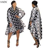 Повседневные платья VAZN 2021 осень печать прямые мини-платья женщин V-образным вырезом Полный рукав нерегулярный классический черный и белый ML7142