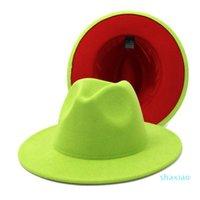 Nouveau chapeau de fedoras de feutre de deux tons classique pour hommes Femmes de laine artificielle Mélange de laine de jazz Cap Large Brim Church Derby Derby