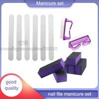 Nail Art Kits Files 100 180 Grit Professional Polishing Tool Sanding Buffer Manicure Pedicure Set Brushes For Dust Removal