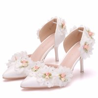 Dress Shoes Women's high-heeled sandals seven inches, low shoes with white crystal lace and queen's princesses. PBN4