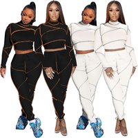 Womens 2 piece Tracksuits Stitching line half-high collar crop top slim leggings pants set sportswear suits jogging plus size clothing gym Fall Winter clothes