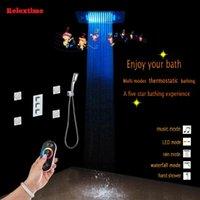 블루투스 연결 노즐 빛 LED 천장 음악 샤워 헤드 숨겨진 온도 조절 욕실 세트 다기능 믹서 세트