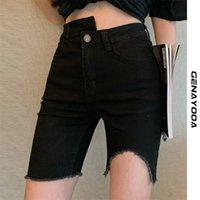 Verão mulheres jeans shorts elásticos cintura alta casual tigh biqueiro preto estilo coreano denim 210607