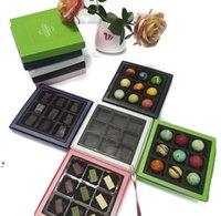 16.8 * 16.2 * 2.4 سنتيمتر الشوكولاته المعكرون مربع عقد 9 قطع المكسير الكوكيز مربع التعبئة والتغليف لحزب الزفاف nha4634