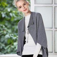 여성용 스웨터 느슨한 케이프 스웨터 여성 카디 건 회색 니트 가을 풀 오버 플러스 사이즈 크리스마스 판쵸 및 케이프 숙녀 60N0690