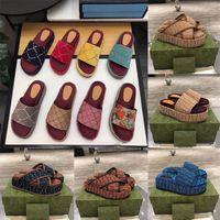Sandales de mode de haute qualité Femme Sandales de mode Plage de la plate-forme Slip-pantoufle de fond épais Alphabet Lady Cuir Flat Diapositives 001