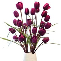 Декоративные цветы венки 100см искусственные тюльпаны цветочный букет из 5 шт. Шелковая вечеринка DIY домашний стол свадебные украшенияНо ваза