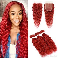 Water Wave Red Hair Bundles with Closure Bright Red Brazilian Wet and Wavy Human Hair Lace Closure 4x4 with Weave Bundles 4Pcs Lot