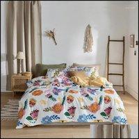 Supplies Textiles Home & Garden 100% Cotton Cute Fresh Bedding Set Duvet Er Sets Bed Flat Sheet Pillowcases Twin Queen King Size 3 4Pcs1 Dro