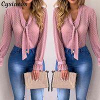 Женские блузки мода мода с длинным рукавом V-образным вырезом розовая рубашка шифон офисный блузка тонкие повседневные вершины плюс размер S-5XL