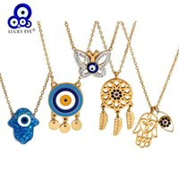 Pendant Necklaces Lucky Eye Titanium Steel Butterfly Fatima Hamsa Hand Necklace Blue Turkish Evil For Women Girls Jewelry