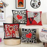 45x45 cm Aşk Kalp Yastık Kapak Pamuk Keten Baskılı Kanepe Yastık Ev Yatak Odası Başucu Atmak Yastık Minder / Dekoratif