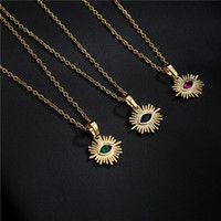 Pendant Necklaces BUY Vintage Bohemian Jewelry Gold Color 45cm O Chain Eye Design CZ Necklace For Women Girl Wholesale Birthday Gift