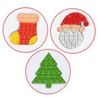 최신 크리스마스 Fidget 퍼즐 장난감 크리스마스 나무 산타 클로스 모양 파티 호의 실리콘 스트레스 릴리버 딤플 감각 장난감