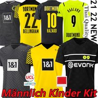 21/22 دورتموند لكرة القدم الفانيلة Borussia 2021 2022 Haaland Reus Neongelb Bellingham Hummels Brandt Emre Can Witsel Football Shirt Men + Kids Kits Onlys