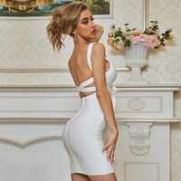 Casual Dresses Adyce 2021 Summerr White Backless Bandage Dress Sexy Spaghetti Strap Women Lace Up Club Celebrity Runway Party Vestido