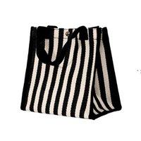 한국어 스트라이프 핸드백 캔버스 여성 야채 쇼핑 가방 운반 점심 가방 주방 스토리지 조직 OWD9378