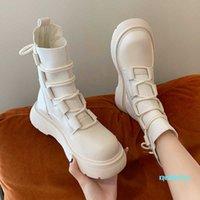 fashion-Sock Boot Retor Lace Up Black White Ankle For Designer Ladies PU Leather Platform 6625