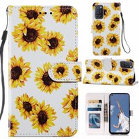 Sunflower Leather Wallet Cases For Samsung S21 Ulttra S20 FE A12 5G A32 4G A52 A72 A21S A22 A51 A71 Flower Pineapple Leopard Butterfly Marble Holder ID Card Flip Cover