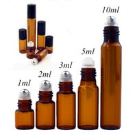 50pcs lot 1ml 2ml 3ml 5ml 10ml Clear   Amber Glass Roll on Bottle with Glass Metal Ball Thin Glass Roller Essential Oil Vials