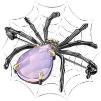 Accesorios de roca de Hip Hop para las mujeres Big Spider Broche Pin Pink Stones Black / Gold Placking Cool Animal Jewelry