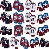 Nathan Mackinnon Colorado Avalanche Jersey 8 Cale Makar 92 Gabriel Landeskog 49 Samuel Girard 96 Mikko Rantanen Hokey Formaları