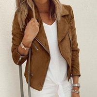 Женские куртки мода отворота молнии женские джектесы осень повседневная длинные рукава короткие женщины простой твердой локомотив