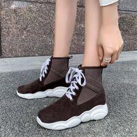 Pxelena Sıcak Faux Süet Kadın Ayak Bileği Çizmeler Düz Platformu Creepers Lace Up Yumuşak Konfor Ayakkabı 2020 Sonbahar Kış Artı Boyutu1